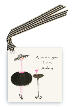 French Ostrich - Gigi with Cocktail - Gift Tags