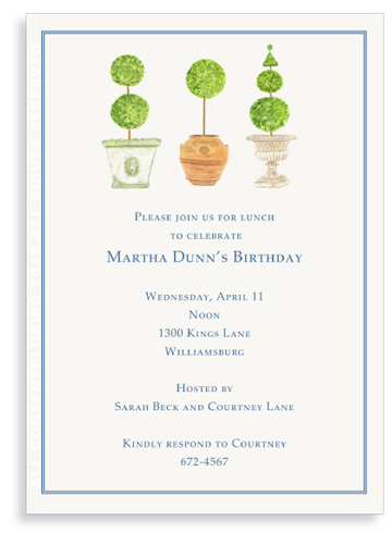 Pots with Topiary- Collection 3 - Invitations