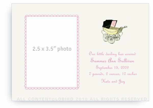 Vintage Baby Carriage Pink - Baby Announcements