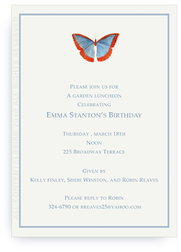 Butterfly - Blue/Red - Invitations