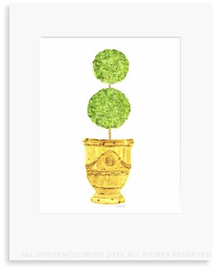 Antique Anduze-Yellow  with double ball Topiary - 8 x 10 Print in 11 x 14 Mat