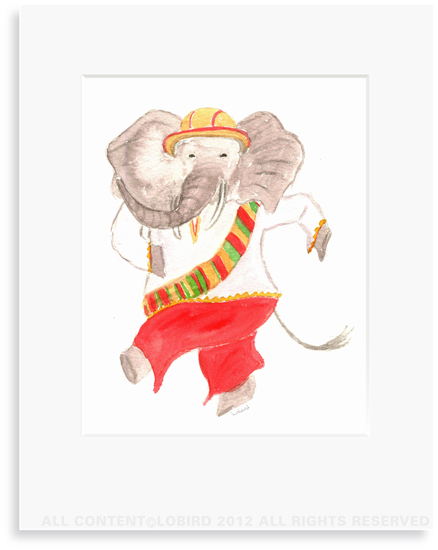 Dancing Elephant - 8 x 10 Print in 11 x 14 Mat