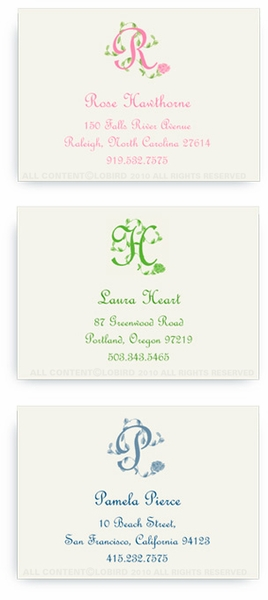 French Vine Monogram - Calling Cards