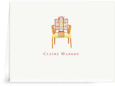 Chinese Chippendale Chair - Folded Note Cards