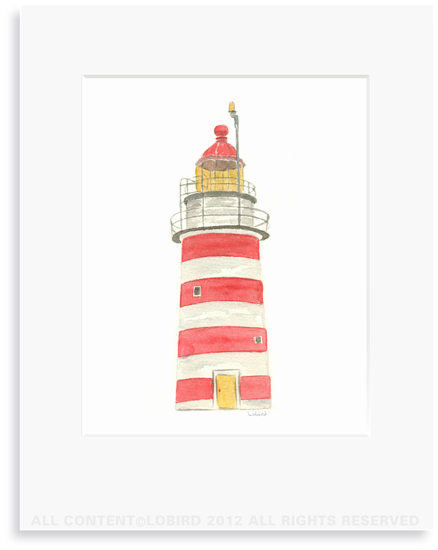 New England Lighthouse - 8 x 10 Print in 11 x 14 Mat