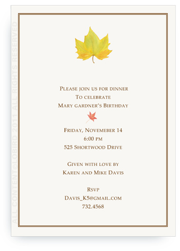 Yellow Autumn Leaf - Invitations