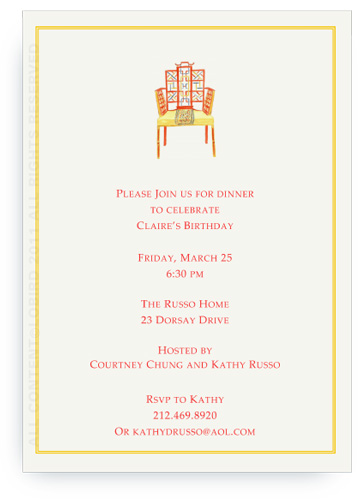 Chinese Chippendale Chair - Invitations