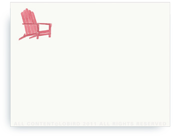 "Beach Andirondack Chair - Non-Personalized Note Cards (4.25"" X 5.5"")"