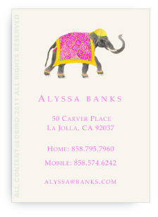 Festive Elephant with Bead Tapestry - Fuchsia - Calling Cards
