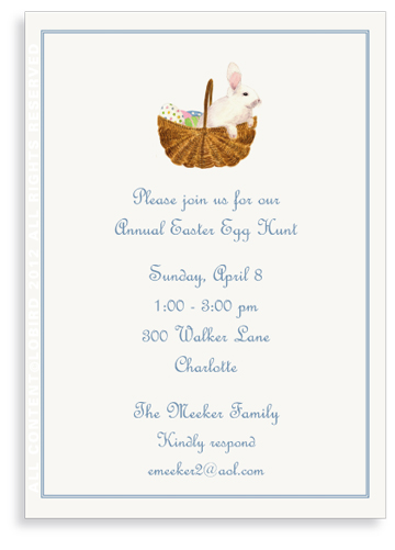 Bunny in Easter Basket - Invitations