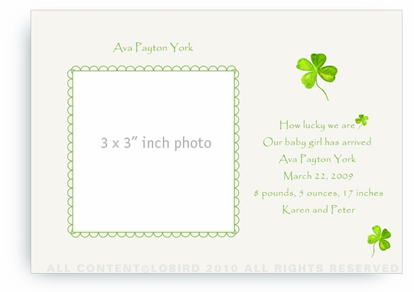 Four Leaf Clover - Baby Announcements
