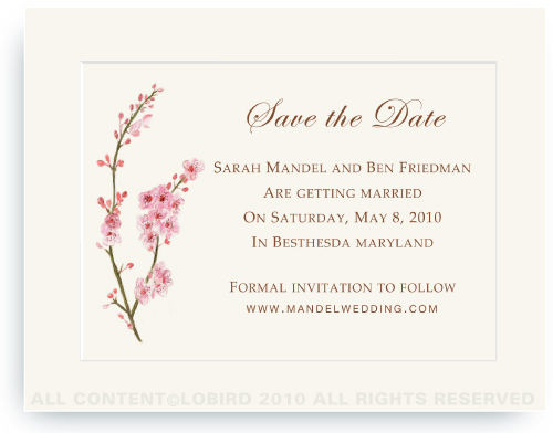 Cherry Tree Blossom - Save the Date Cards