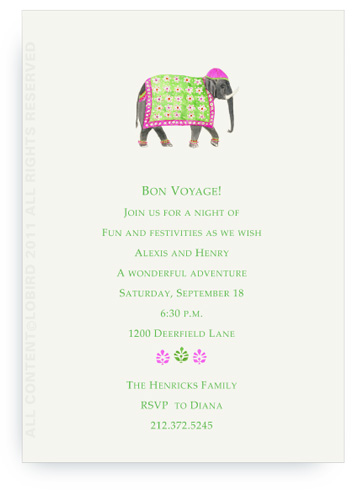 Festive Elephant with Floral Tapestry - Fuchsia - Invitations