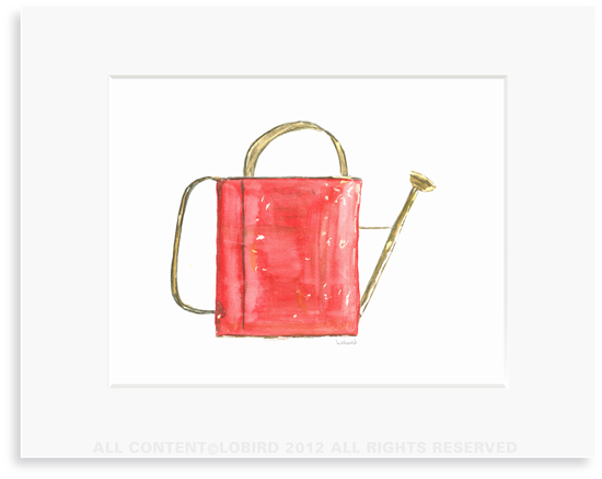 Red Watering Can  -Print