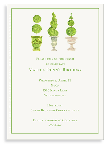 Pots with Topiary- Collection 4 -Invitations