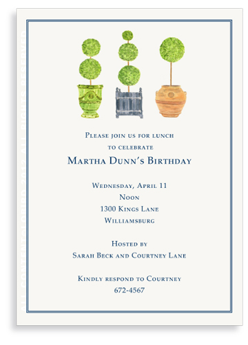 Pots with Topiary- Collection 1 -Invitations