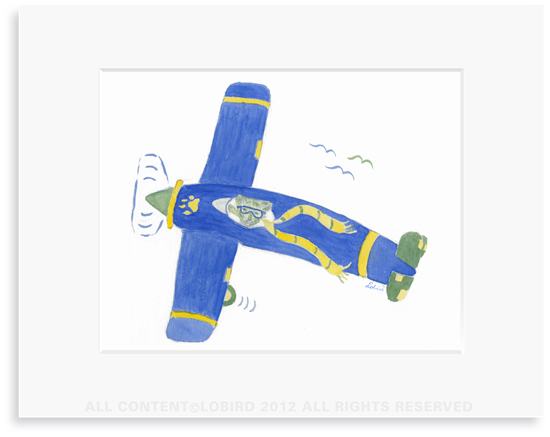 Lion Flying Plane - 8 x 10 Print in 11 x 14 Mat