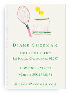 Pink Tennis Racket with Skirt - Calling Cards