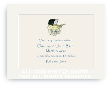 Vintage Baby Carriage Blue - Baby Announcements