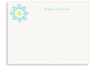 Block Print Flower - Turquoise/Lime - Flat Note Cards