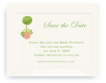 Topiary in Terra Cotta Pot - Save the Date Cards