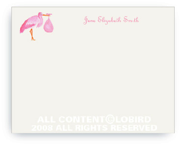 Pink Stork Standing - Flat Note cards