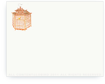"Pagoda Red Bird Cage - Non-Personalized Note Cards (4.25"" X 5.5"")"