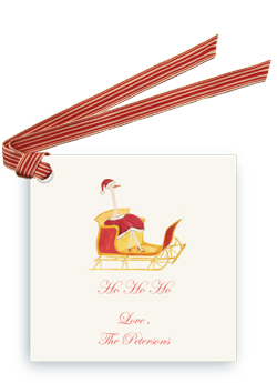 Holiday Ostrich in Sleigh - Gift Tags