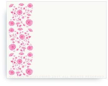 "Chinese Floral Tapestry - Pink - Non-Personalized Note Cards (4.25"" X 5.5"")"