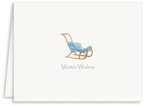 Vintage Blue Child's Sled - Holiday Greeting Cards