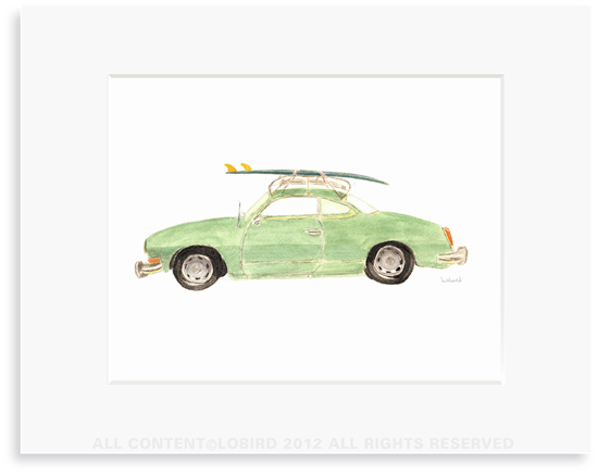 Vintage Surf Car - 8 x 10 Print in 11 x 14 Mat