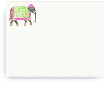 "Festive Elephants with Bead Tapestry - Fuchsia - Non-Personalized Note Cards (4.25"" X 5.5"")"