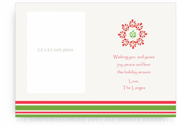 Block Print - Green/Red - Photo Greeting Cards