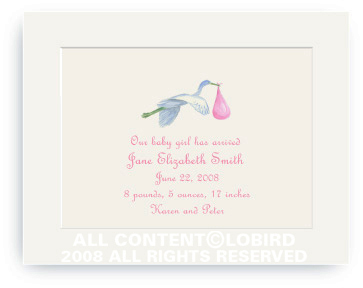 Flying Pink Stork - Baby Announcements