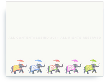 "Festive Elephants - Color Parade - Non-Personalized Note Cards (4.25"" X 5.5"")"