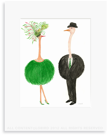 Ostrich Couple-Jacqueline +1 - 8 x 10 Print in 11 x 14 Mat