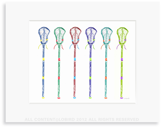 Lacrosse Stick collection 1 - 8 x 10 Print in 11 x 14 Mat