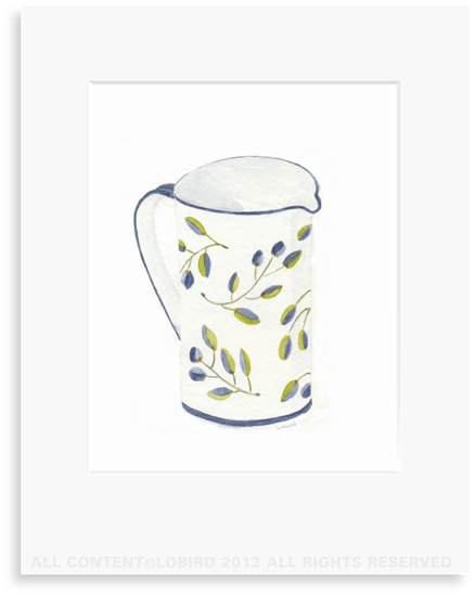 Blue Italian Pitcher - 8 x 10 Print in 11 x 14 Mat
