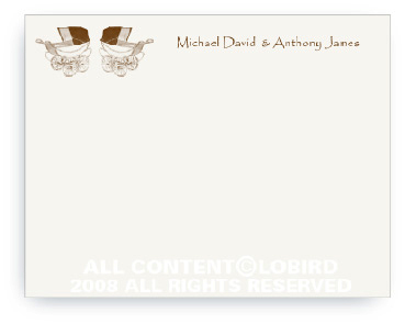 Twin Vintage Brown Baby Carriages - Note cards