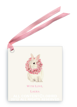 White Rabbit with Magnolia Wreath - Gift Tags