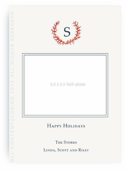 Coral Crest monogram-Flat Holiday Card- Portrait