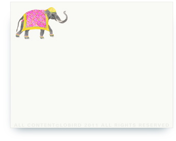 "Festive Elephants with Tapestry - Fuchsia - Non-Personalized Note Cards (4.25"" X 5.5"")"