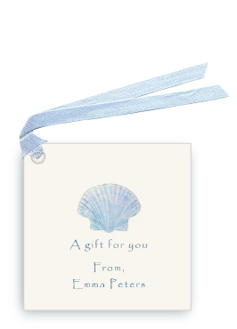 Blue Scallop Sea Shell - Gift Tags