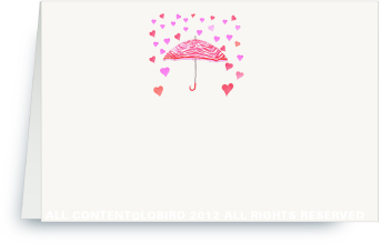 Umbrella with Raining Hearts - Place Cards