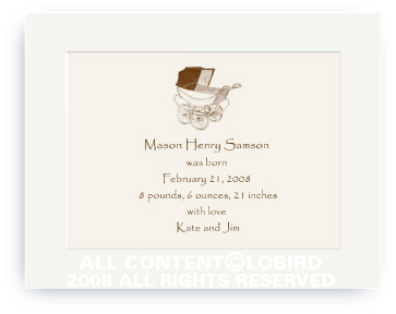 Vintage Brown Baby Carriage - Baby Announcements