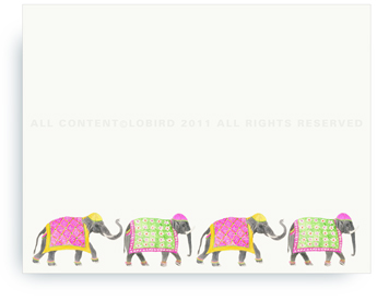 "Festive Elephants - Spring Parade - Non-Personalized Note Cards (4.25"" X 5.5"")"