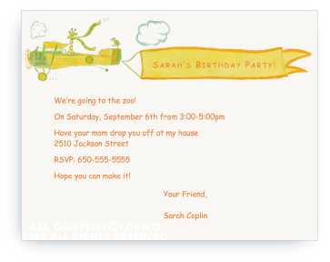 Giraffe Flying Plane - Invitations