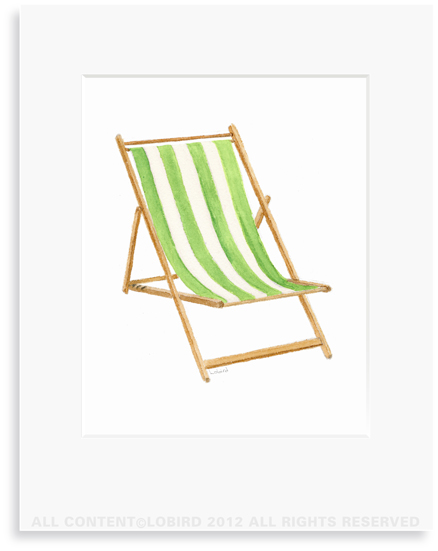 Beach Chair - Lime - 8 x 10 Print in 11 x 14 Mat