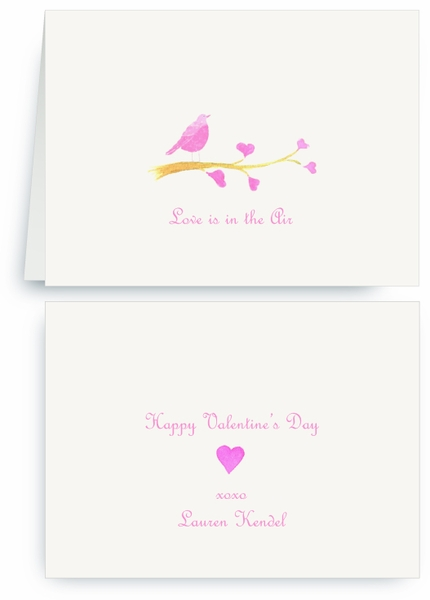 Pink Song Bird on Heart Branch - Valentines Card