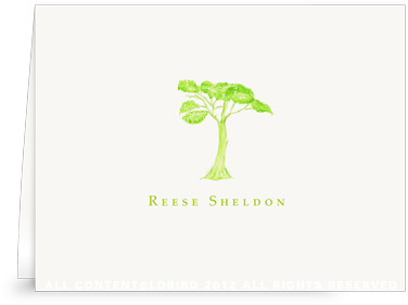 Green Tree - Folded Note Cards